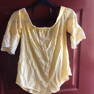 OLD NAVY yellow plaid off the shoulder top